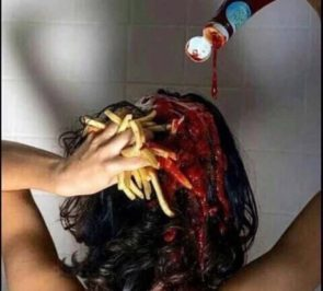 ketchup and fries in the shower