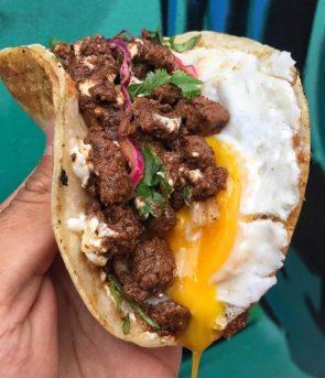 steak and egg taco