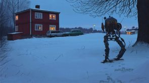 Biped Robot in the snow