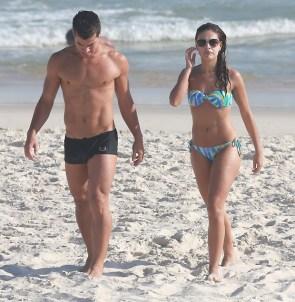 Paloma Bernardi at the beach with boy toy