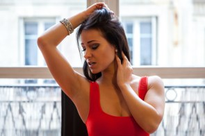 Kristina Uhrinova checking her armpit for imperfections, which she does not have because she has perfect arm pits.jpg