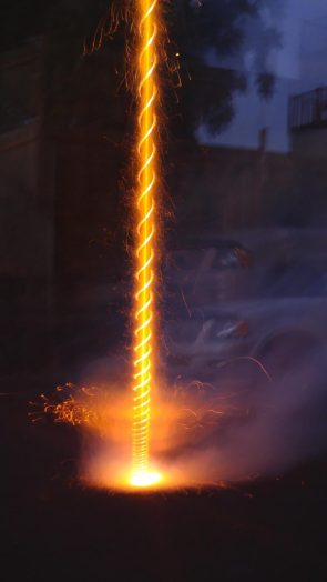 Long exposure photograph of a firework