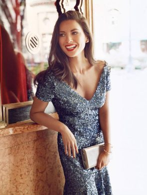 Olivia Munn in red lip stick