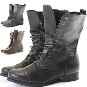 Womens Combat Style Army Worker Military Ankle Boots