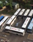 bad parking in a bus lot