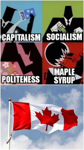 captialism, socialism, politeness, maple syrup