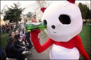 how to drink while in a red bear costume