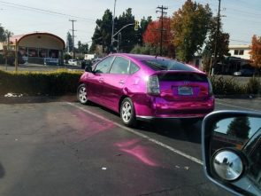 shiney purple car