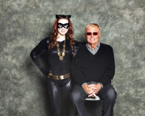 Adam West and catwoman cosplayer