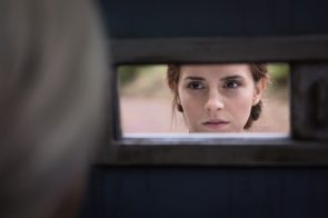 Emma Watson at the door in Colonia
