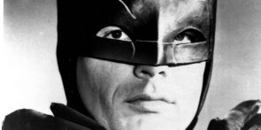 Extreme closeup of Adam West in the Batman Mask