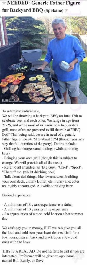 NEEDED – Generic Father Figure for Backyard BBQ