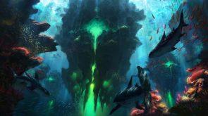 under water green glow