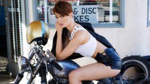 Britt Linn on a motorcycle