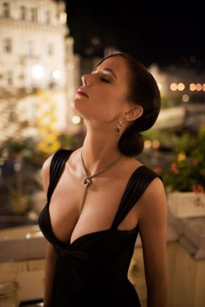 Eva Green in a deep plunging dress