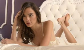 Gal Gadot in a white bed