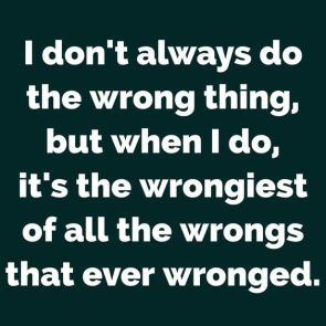 I don't always do the wrong thing