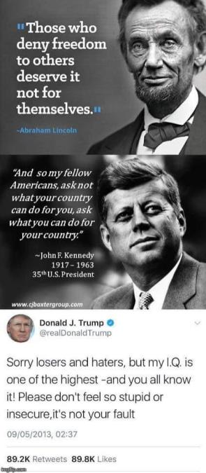 JFK and Lincoln vs Trump on Their Country