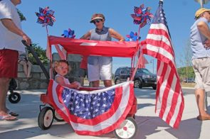 Patriot Kid in a cart