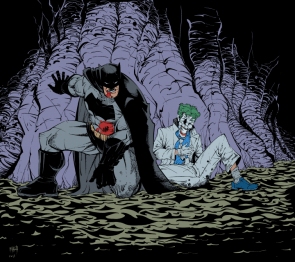 Batman and The Joker in a cave