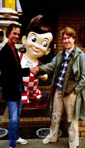 John Waters meets David Lynch outside Bob's Big Boy 1979