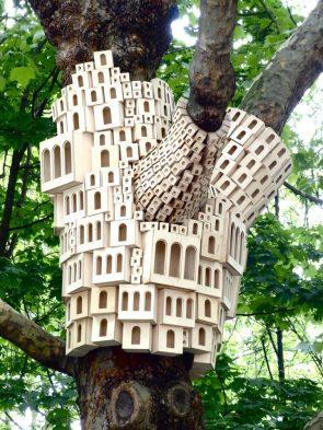 bird house art installation