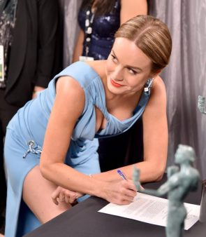 Brie Larson Signing Paperwork