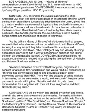 CONFEDERATE Announcement
