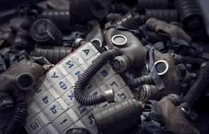 gas mask pile