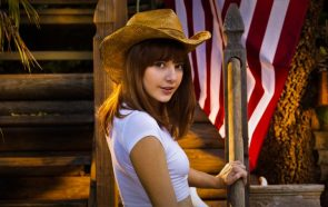 Lena Anderson is a cowgirl who loves the American Flag