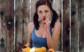 Pigtail Beauty Eating Bloody Fruit
