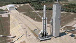 Rendering of a Falcon Heavy on the launch pad