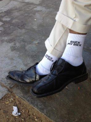 """socks that say """"Suck my Dick"""""""