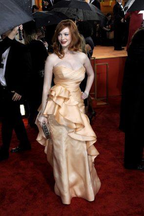 Christina in a golden Dress