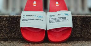 Flip flops with contradictory Trump tweets on them