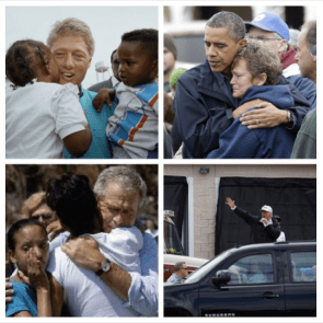 Four presidents during disasters