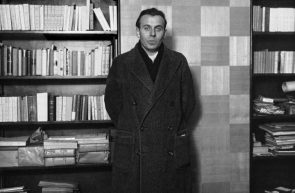 Louis-Ferdinand Cline in a small library