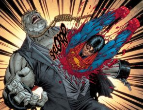 Superman kills Grundy by flying through his chest