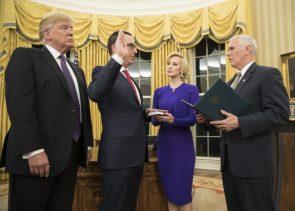 US Treasury Secretary Steven Mnuchin and his wife Louise Linton