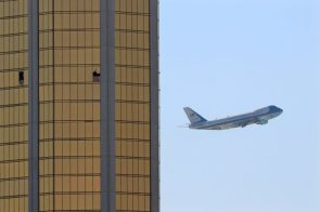 Air Force One Leaving Las Vegas by Mike Blake