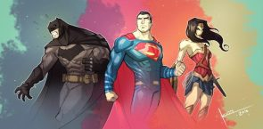 Batman Superman and Wonder Woman standing heroicly