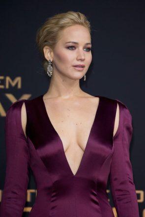 Jennifer Lawrence in a purple dress