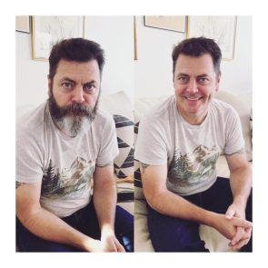 Nick Offerman With and Without a Full Beard