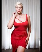 Stefania Ferrario in a red dress