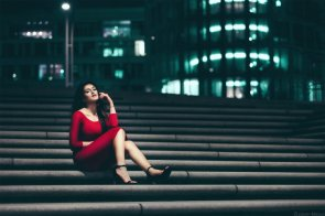 Red Dress on the steps