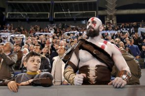 God of War cosplayer at a sporting event