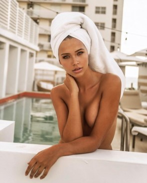 topless in a towel