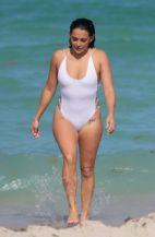 Natalie Martinez white swimsuit