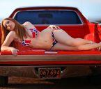 racist bikini in racist car truck