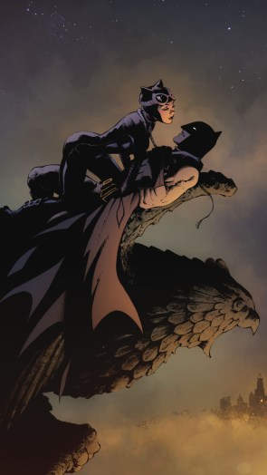 catwoman and batmon on gargoyl.jpg